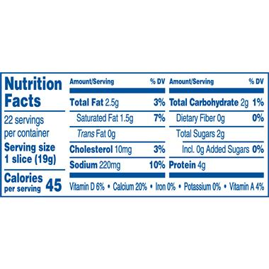 American cheese singles nutrition facts